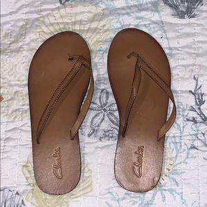 Clark's brown leather flip flops